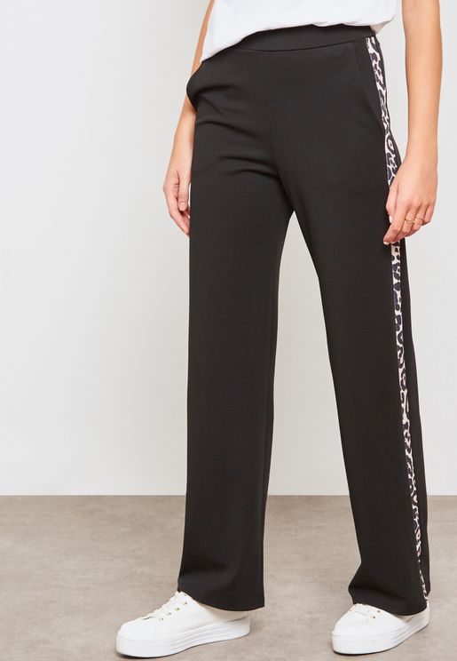 Striped Animal Print Wide Leg Pants