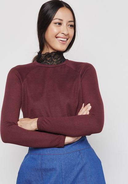 Lace Detail High Neck Sweater