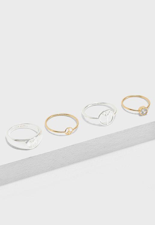 4 Pack Peace Rings