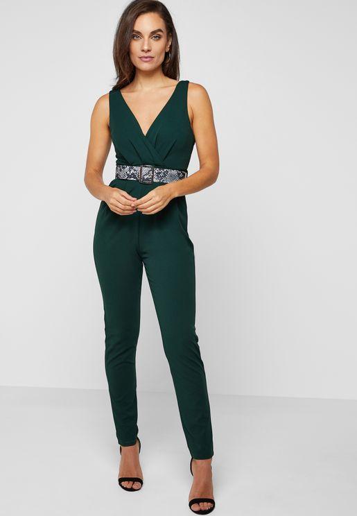 Snake Print Belted Jumpsuit