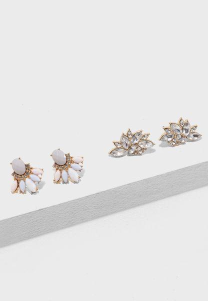 Rabi Stone Earrings Pack of 2