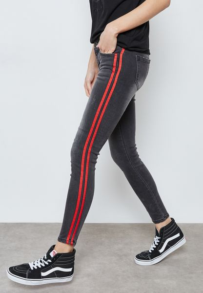 Contrast Side Paneled Skinny Jeans