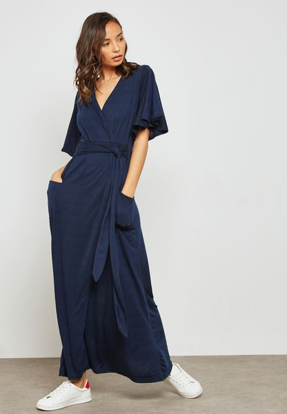 Flare Sleeve Tie Front Maxi Dress
