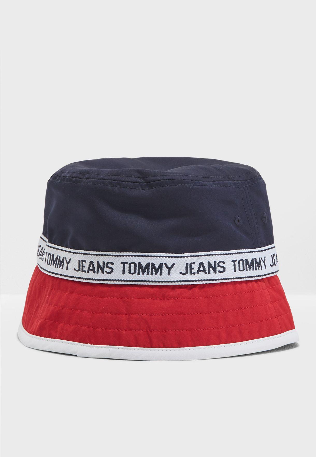 550fad104fc0a Shop Tommy Jeans multicolor Logo Bucket Hat AU0AU00146 for Men in ...