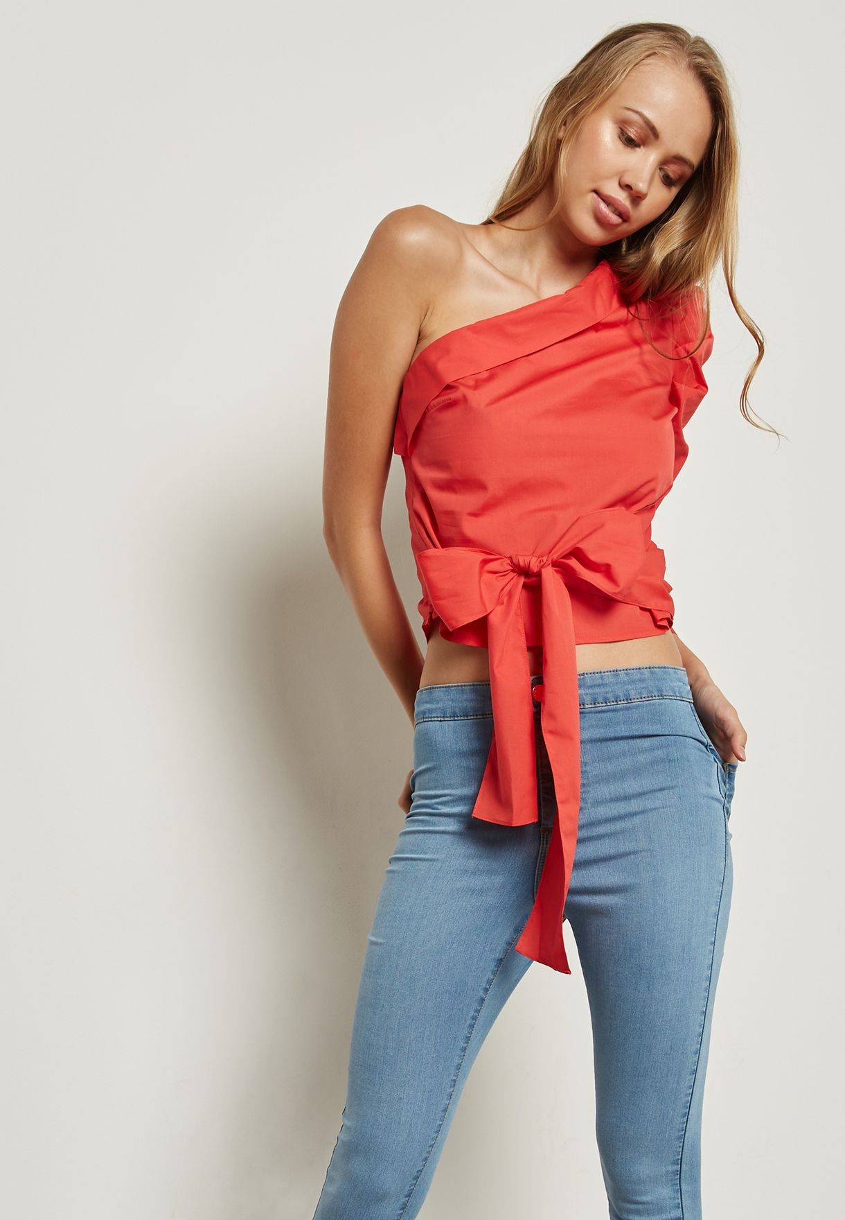 27a0b1c0925 Shop Miss Selfridge red One Shoulder Tie Waist Top 15E90VRED for ...