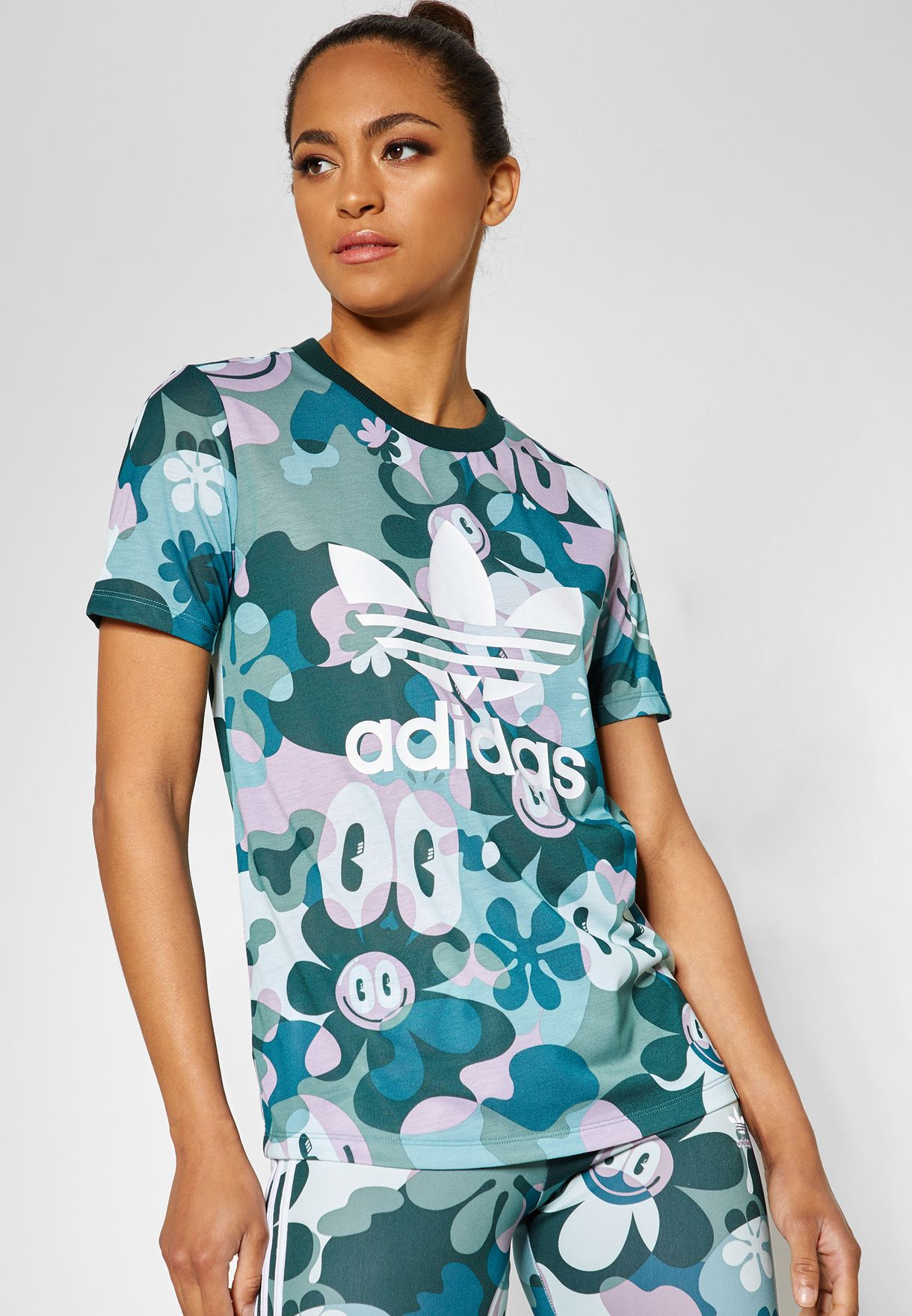 135bb05400a9 Shop adidas Originals prints Trefoil AOP T-Shirt DV2672 for Women in ...