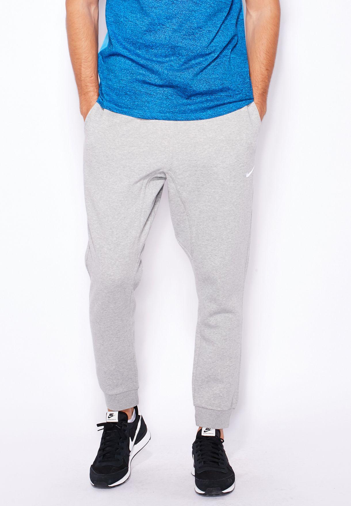 0b633f05e0694a Shop Nike grey Club Fleece Tapered Cuffed Sweatpants 716830-063 for ...