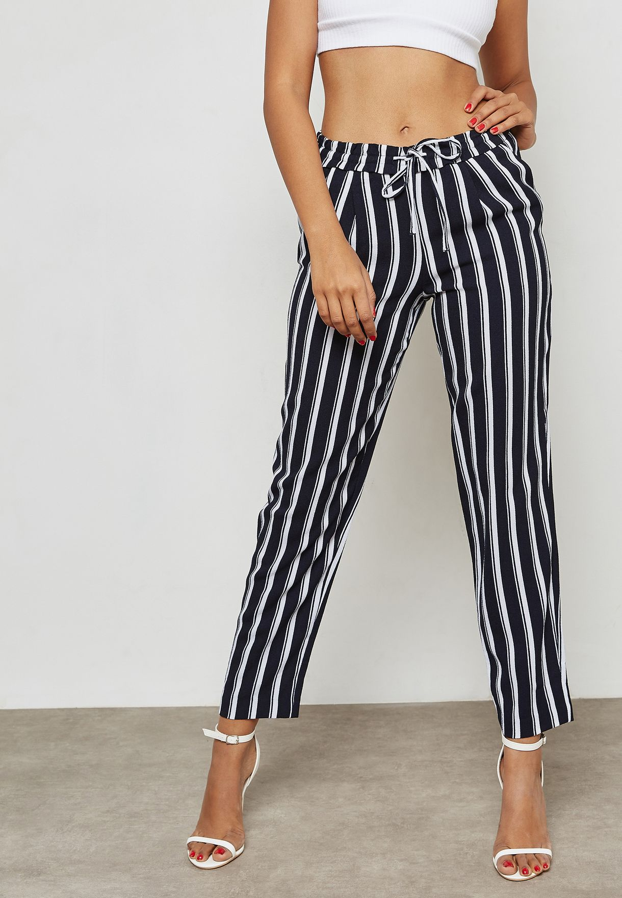 0b251974c7 Shop Only stripes Tie Waist Striped Pants 15149673 for Women in ...