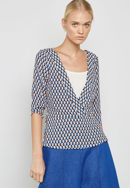 Plunge Neck Printed Top