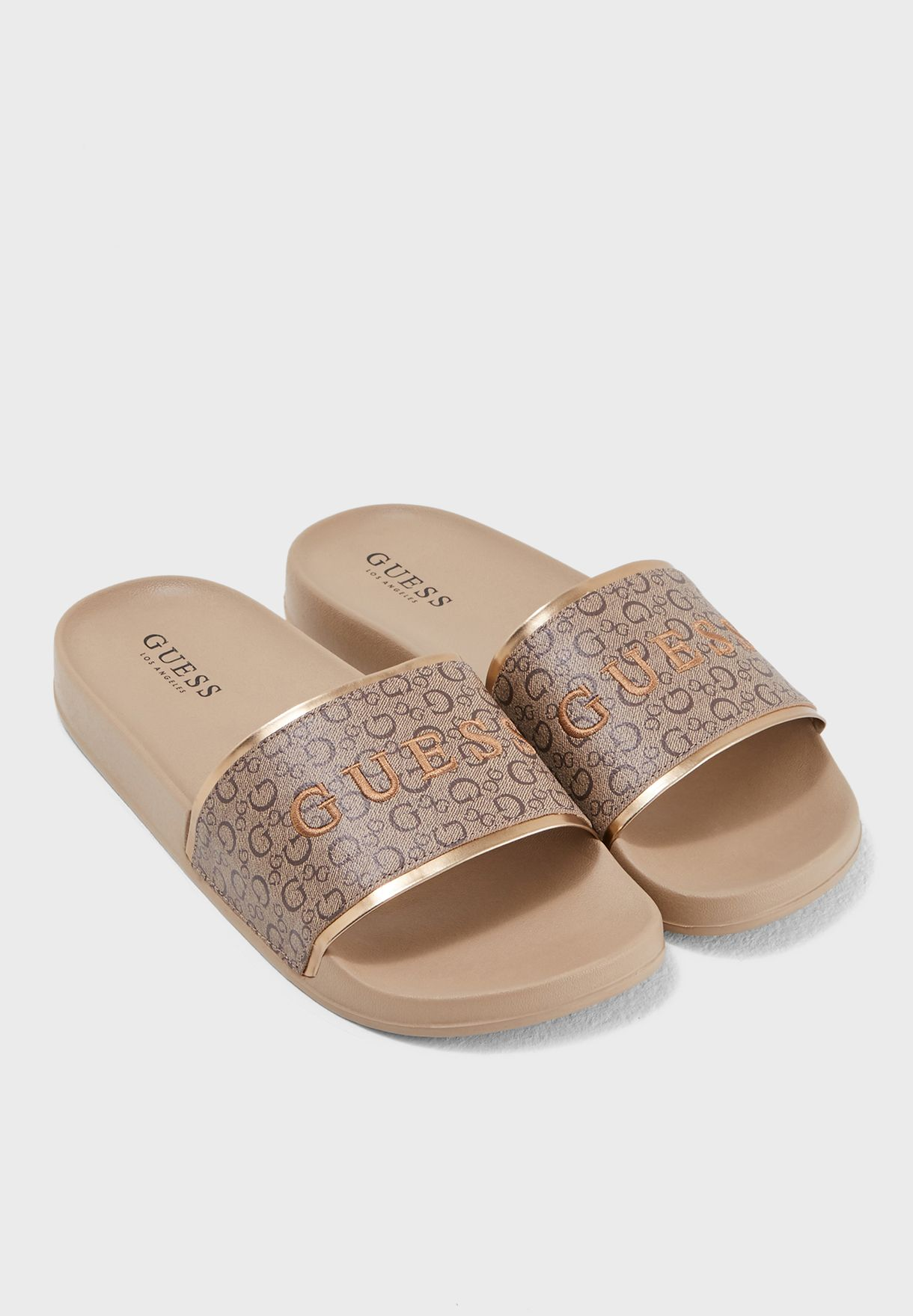 50cc97418bfb Shop Guess beige Isaac Slide Sandal WGDARK-C for Women in UAE ...
