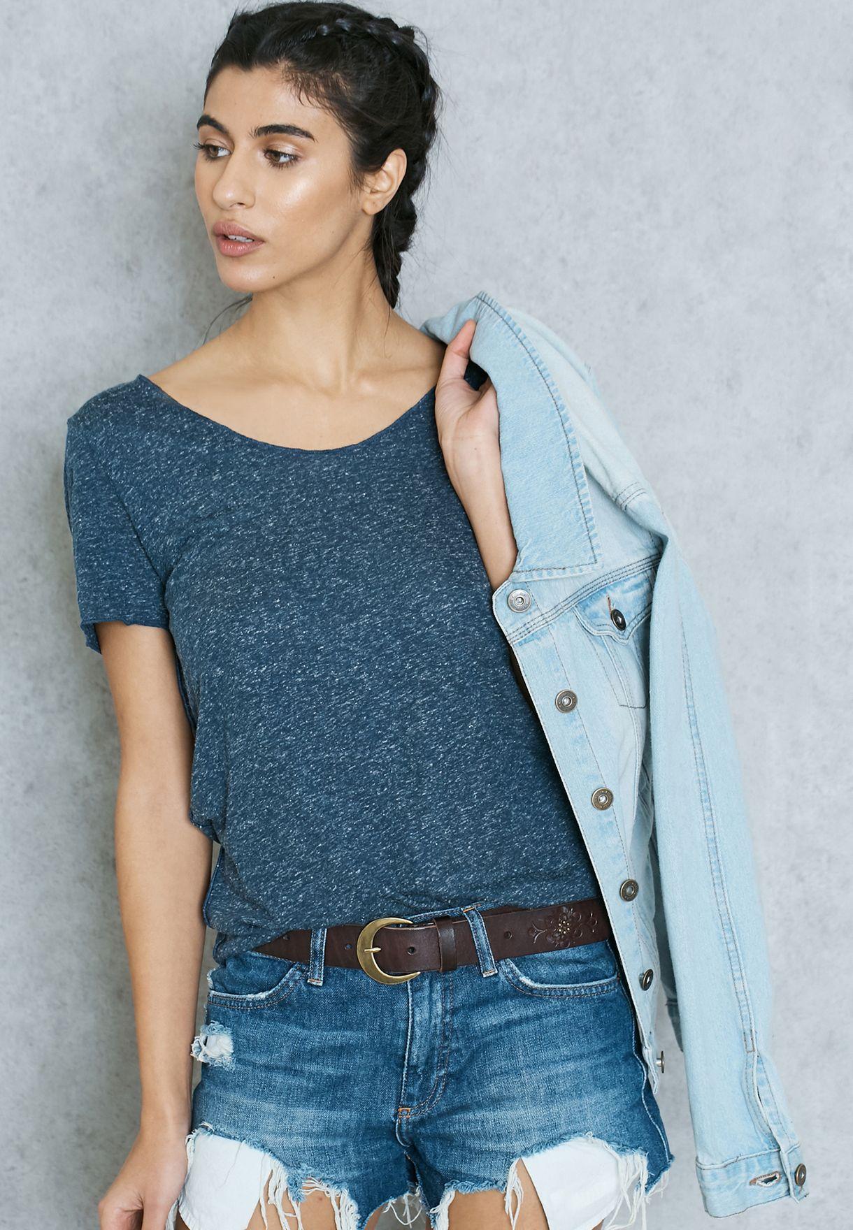 63df5e0b184 Shop Vero Moda blue Melange T-Shirt for Women in UAE - VE758AT53AYK