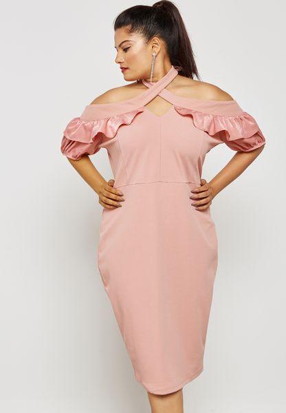 Bodycon Dress with Asymmetric Sleeves