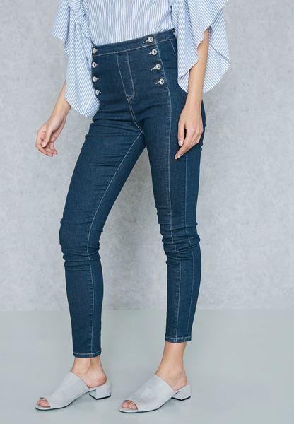 Button Detail High Waisted Skinny Jeans