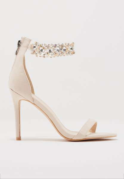 Fiji Crystal Ankle Strap Barely There Heel