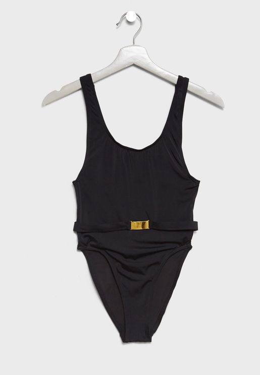 High Leg Belted Swimsuit