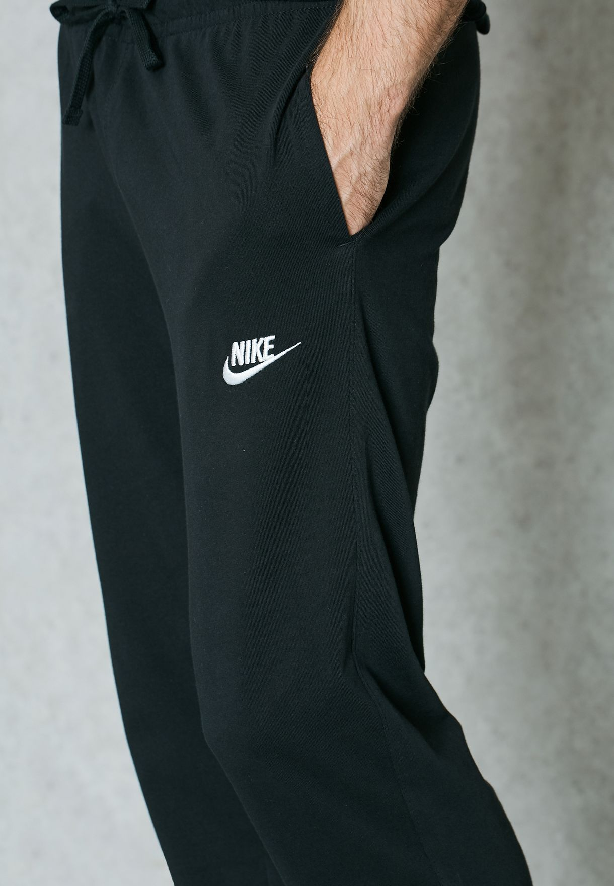 b2909cf873f7 Shop Nike black Club Jersey Open Hem Sweatpants 804421-010 for Men ...