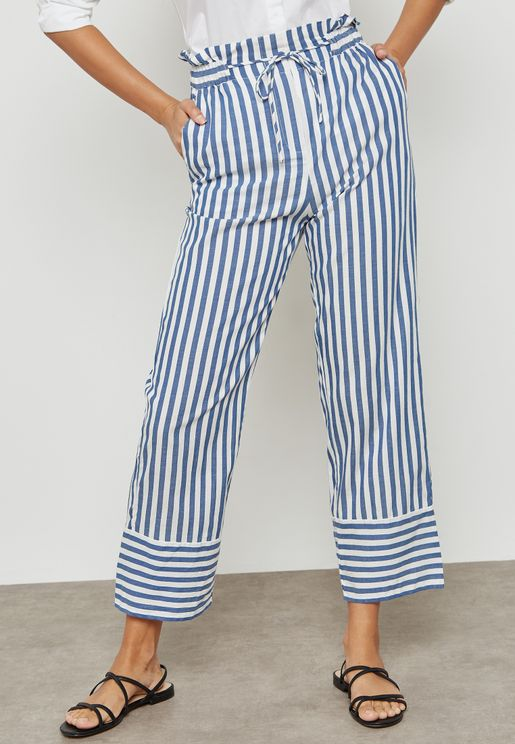 Striped Tie Waist Pants