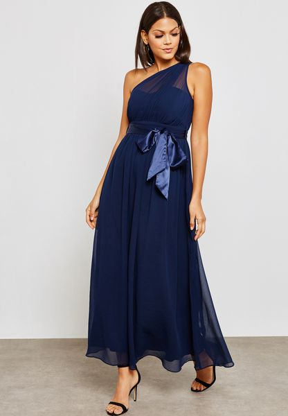 One Shoulder Belted Bridesmaid Maxi Dress