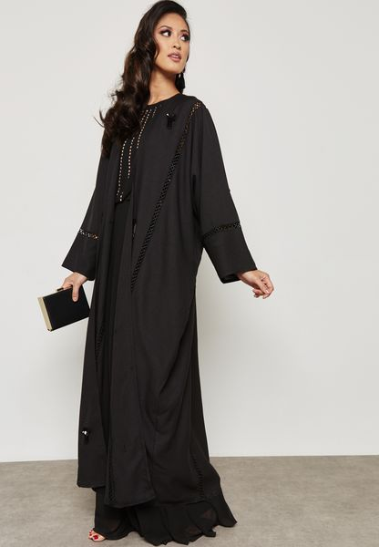 Lace Ladder Embellished Abaya