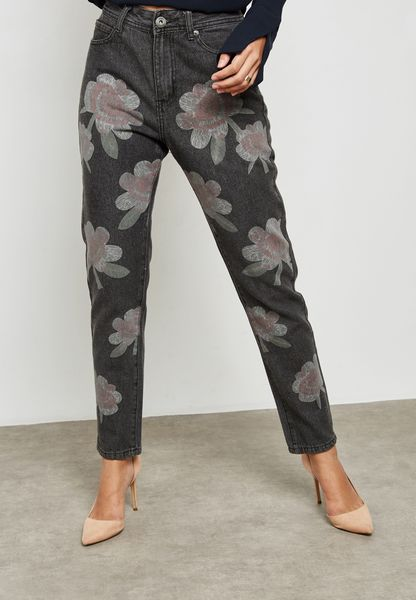 Printed Lax Mom Jeans