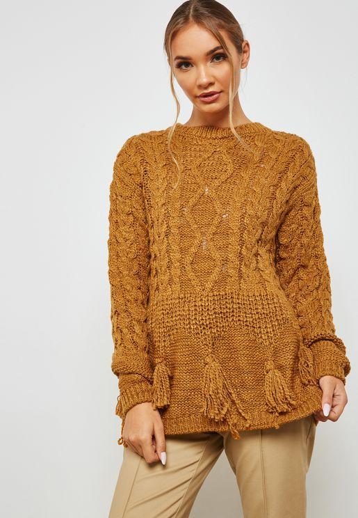 Knitted Tassel Longline Sweater