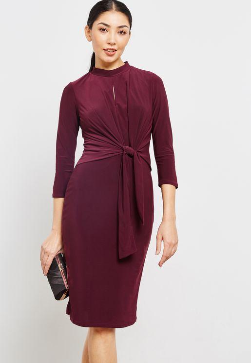 Keyhole Front Twist Dress