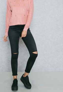Regular Length Knee Slit Jeans