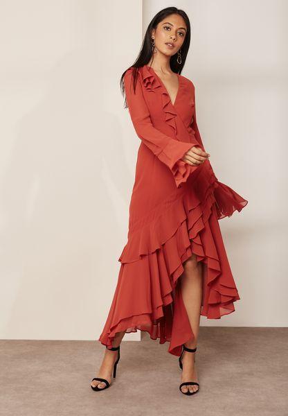 Asymmetric Ruffle Detail Dress