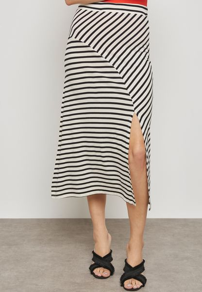 Striped Slit Detail Skirt