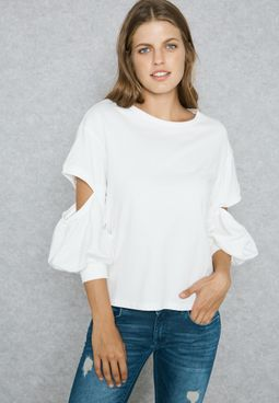Cut Out Elbow Tie Top