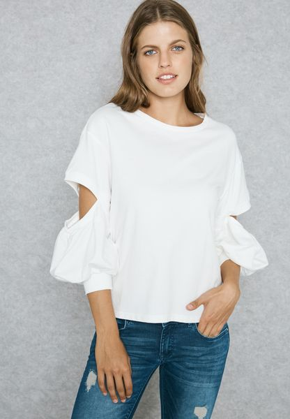 Lace Cuffed Cut Out Elbow Top