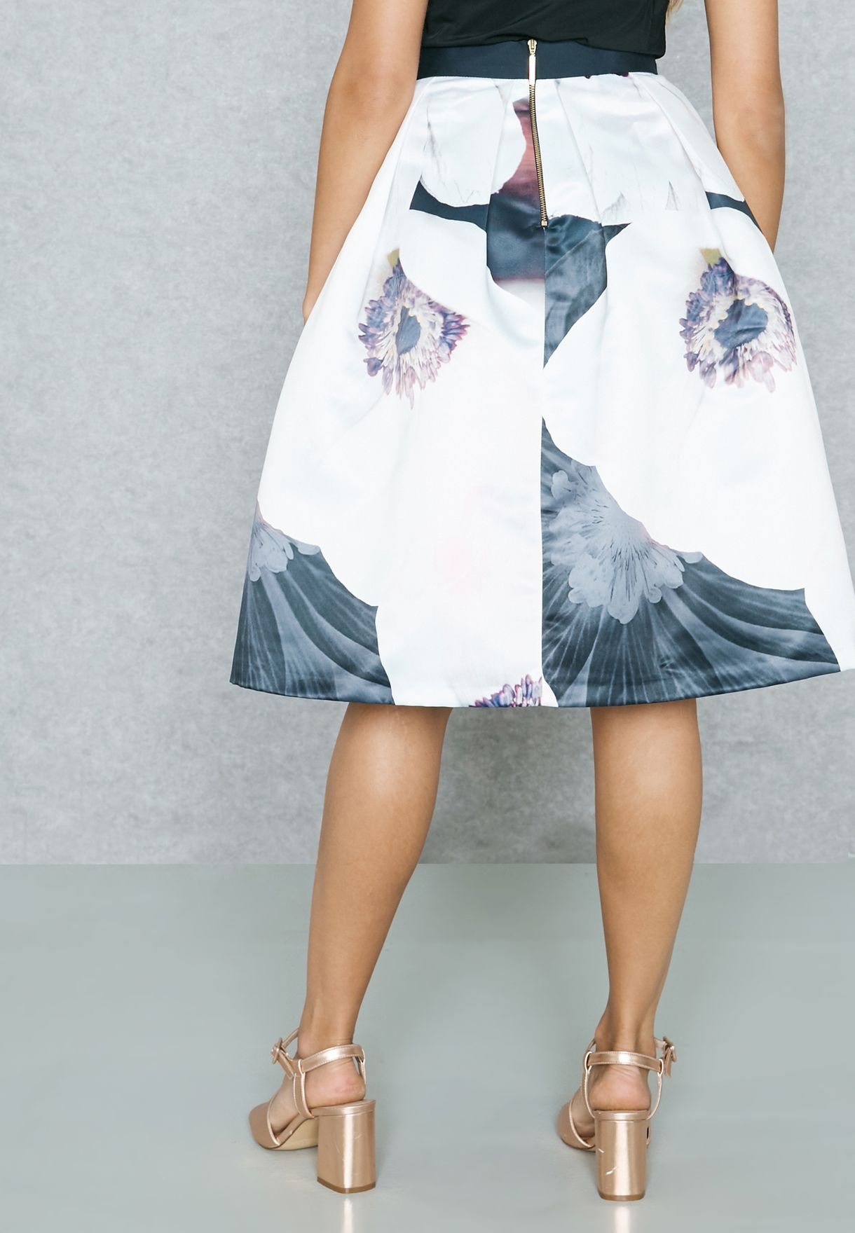 Floral Print Bow Tie Skirt