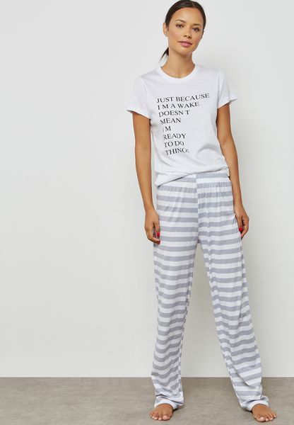 Slogan Striped Pyjama Set