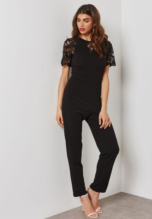 Sleeve Lace Detail Jumpsuit