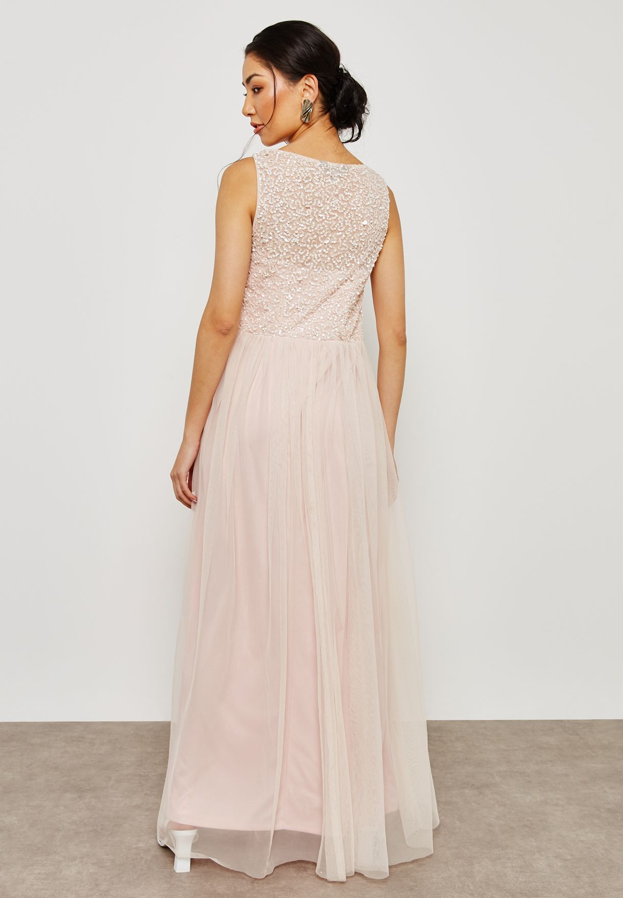Sequin Pleated Maxi Dress