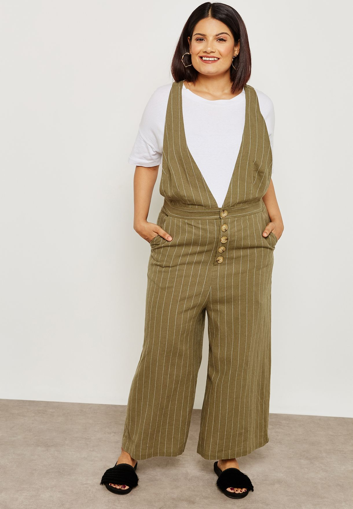 b6bed63bbc8 Shop Forever 21 Plus green Wide Leg Culotte Jumpsuit 266253 for ...