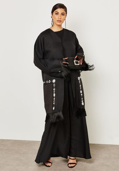 Beadwork Fringed Trim Jacket Abaya