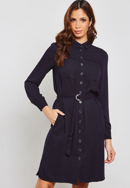 Button Through Belted Dress