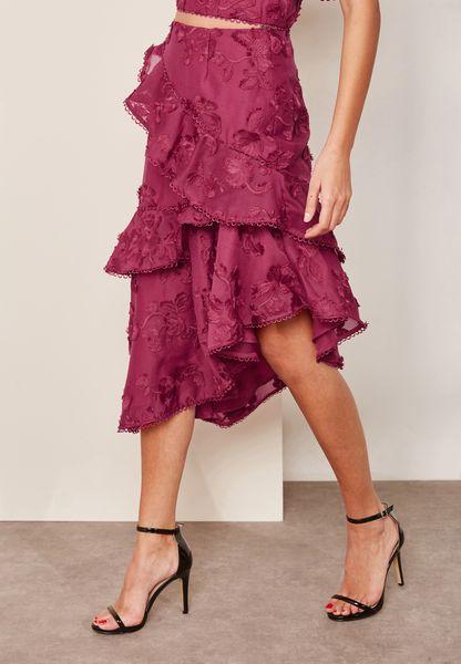Ruffle Detail Lace Skirt
