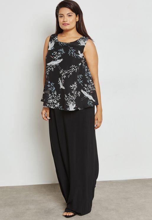 Overlay Bird Print Maxi Dress