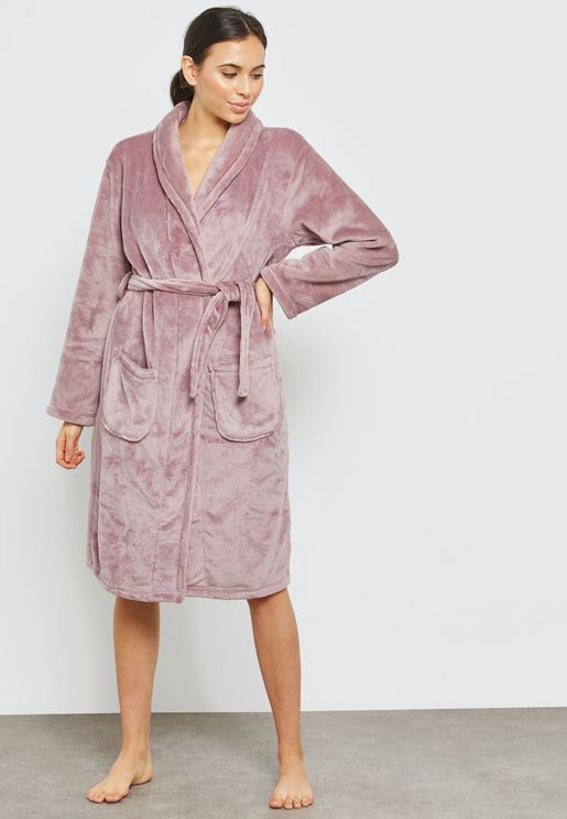Belted Wrap Long Sleeve Robe