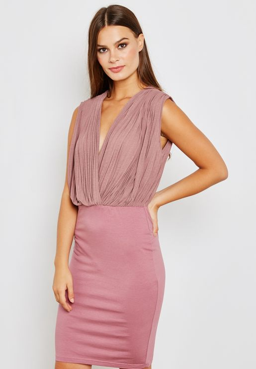 Wrap Front Pleated Top Dress