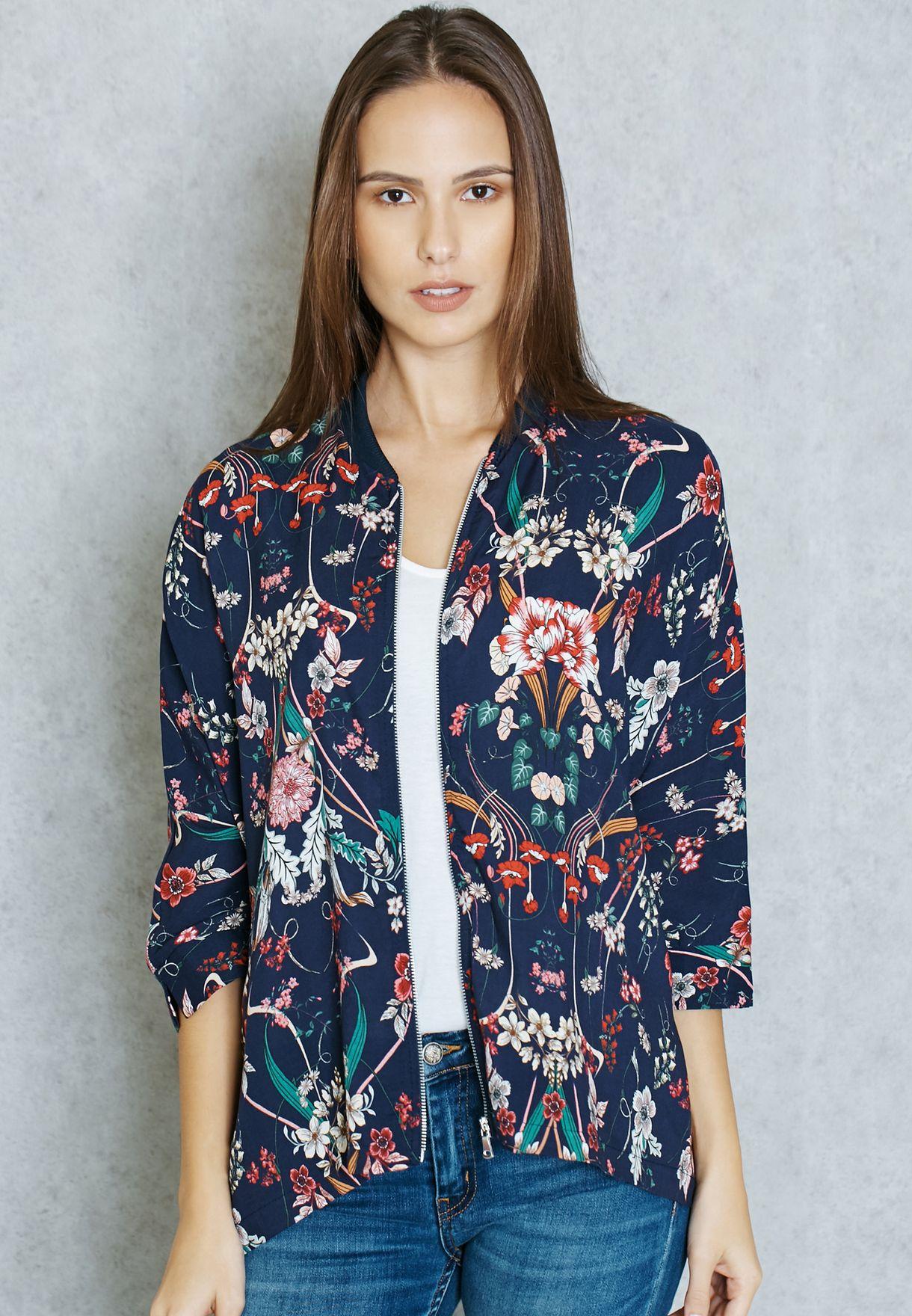 ec9875914 Floral Cropped Sleeve Bomber Jacket