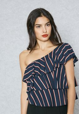 One Shoulder Ruffle Striped Top