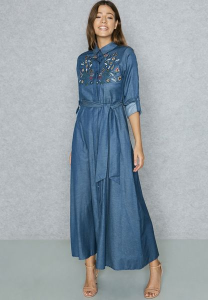 Embroidered Denim Self Tie Maxi Dress