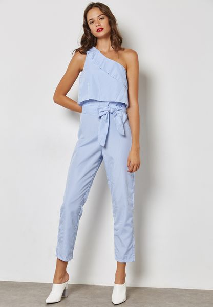 Striped Ruffle One Shoulder Jumpsuit