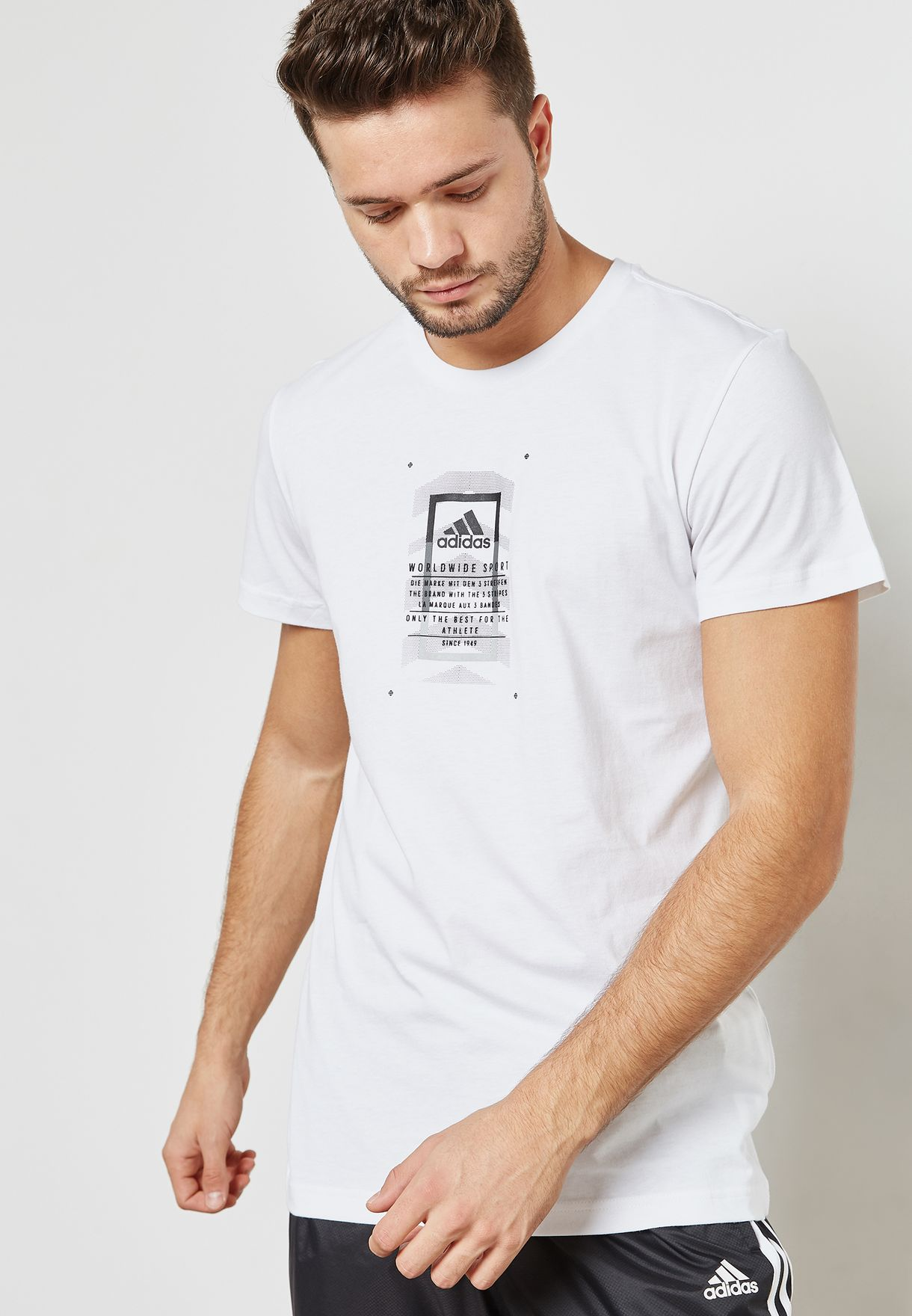 82c6c760 Shop adidas white Graphic T-Shirt CV4544 for Men in Kuwait ...