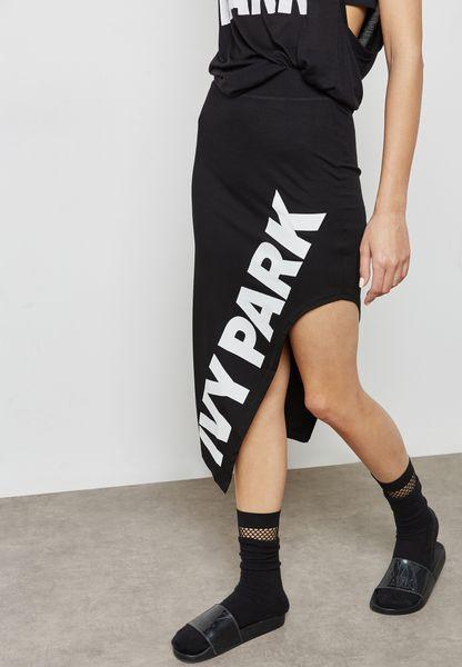 Logo Asymmetric Skirt
