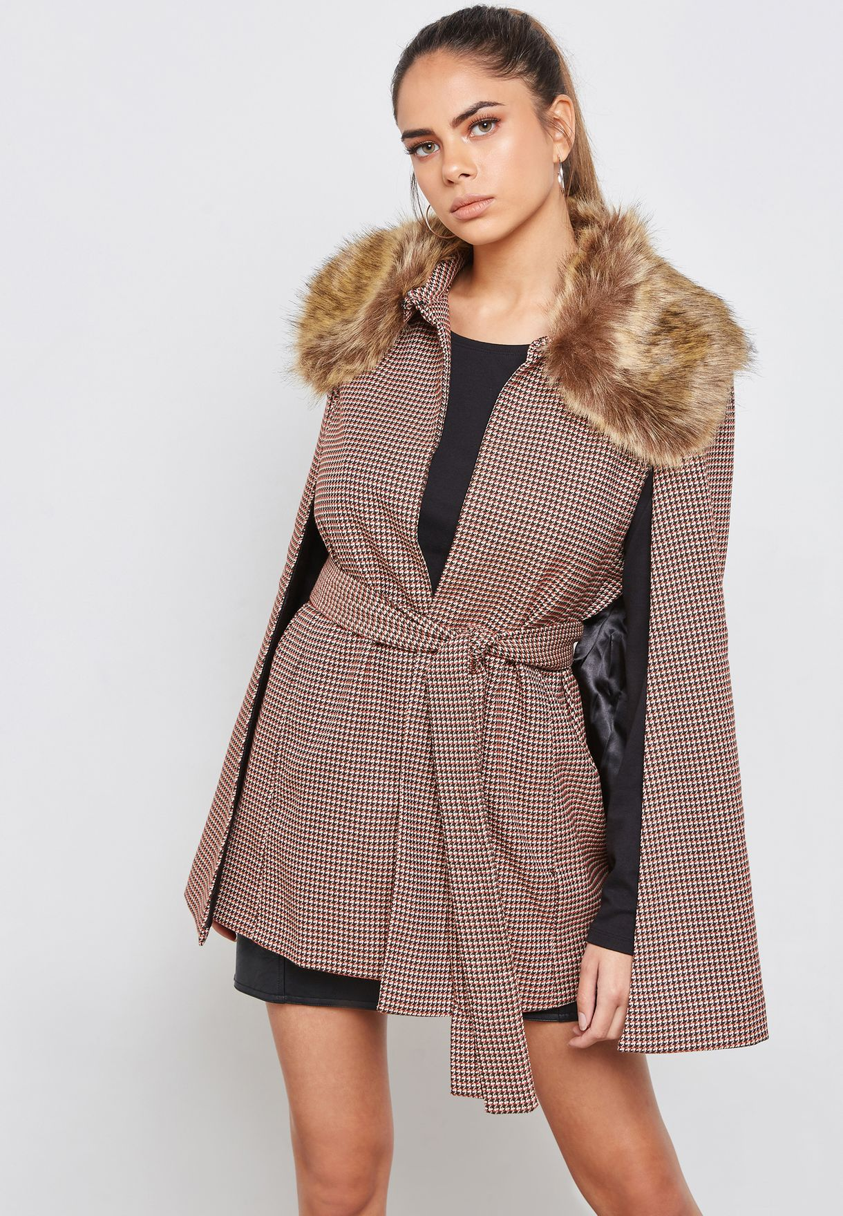 12b8aa82971 Shop Forever 21 prints Faux Fur Cape Jacket 296166 for Women in UAE -  FO057AT43ZMU