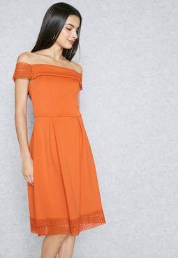 Lace Detail Bardot Dress